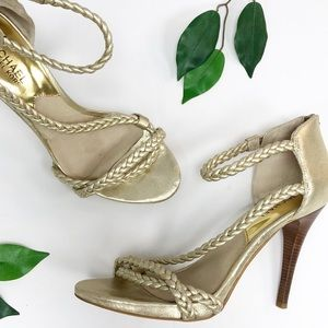 Michael Kors | Gold Braided Stilettos 7.5